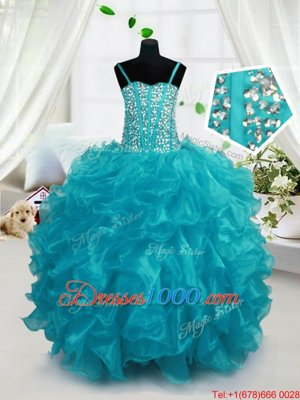 Charming Floor Length Multi-color Kids Pageant Dress Organza Sleeveless Beading and Ruffles and Sequins