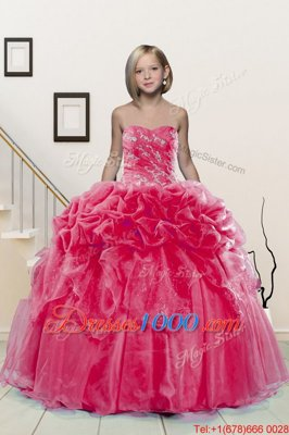 Floor Length Hot Pink Little Girls Pageant Dress Wholesale Organza Sleeveless Beading and Pick Ups