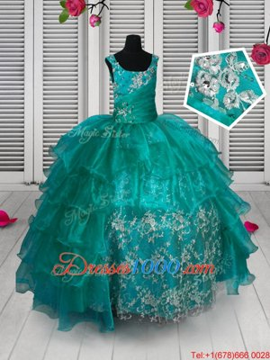 Apple Green Sleeveless Lace and Ruffled Layers Floor Length Little Girls Pageant Dress Wholesale