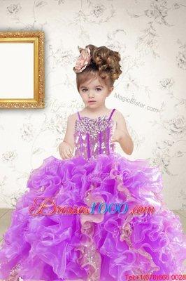 Halter Top Sleeveless Little Girls Pageant Dress Floor Length Beading and Ruffles Green Organza