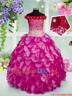 Off the Shoulder Beading and Hand Made Flower Kids Formal Wear Fuchsia Lace Up Sleeveless Floor Length
