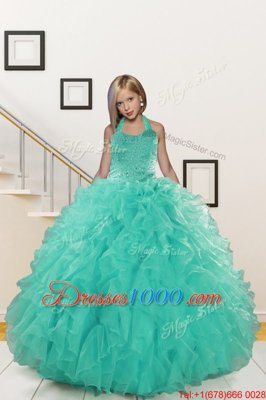 Floor Length Light Yellow Little Girls Pageant Gowns Halter Top Sleeveless Lace Up