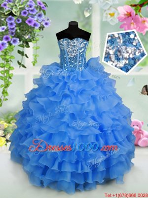 Red Organza Lace Up Halter Top Sleeveless Floor Length Little Girl Pageant Dress Beading and Ruffles