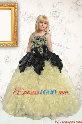 Champagne Sleeveless Beading and Pick Ups Floor Length Little Girls Pageant Dress