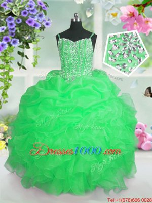 Pick Ups Gold Sleeveless Organza Lace Up Little Girls Pageant Dress Wholesale for Party and Wedding Party