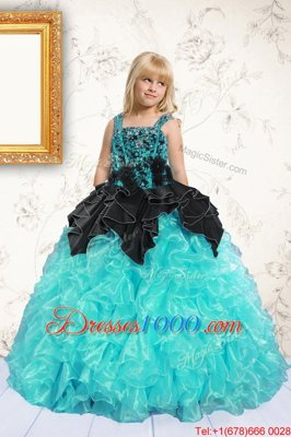 Nice Aqua Blue Straps Neckline Beading and Pick Ups Little Girl Pageant Gowns Sleeveless Lace Up