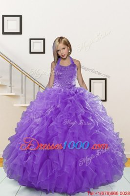 Lavender Ball Gowns Organza Halter Top Sleeveless Beading and Ruffles Floor Length Lace Up Kids Pageant Dress