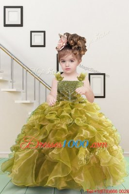 High Quality Yellow Green Ball Gowns Organza Straps Sleeveless Beading and Ruffles Floor Length Lace Up Little Girls Pageant Dress Wholesale