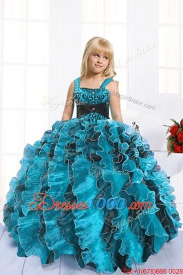 Turquoise Sleeveless Organza Lace Up Kids Pageant Dress for Party and Wedding Party