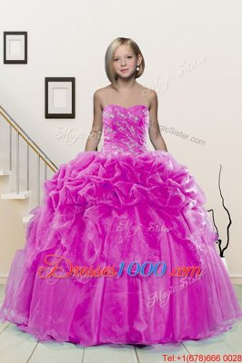High Quality Fuchsia Ball Gowns Organza Sweetheart Sleeveless Beading and Pick Ups Floor Length Lace Up Little Girls Pageant Dress