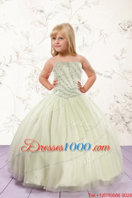 Strapless Sleeveless Lace Up Kids Pageant Dress Apple Green Tulle