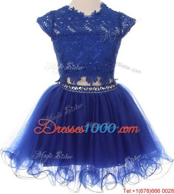 Navy Blue Flower Girl Dress Party and Wedding Party and For with Beading and Lace Scoop Cap Sleeves Zipper