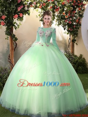 Custom Designed Apple Green Ball Gowns Scoop Long Sleeves Tulle Floor Length Lace Up Appliques Quinceanera Dress