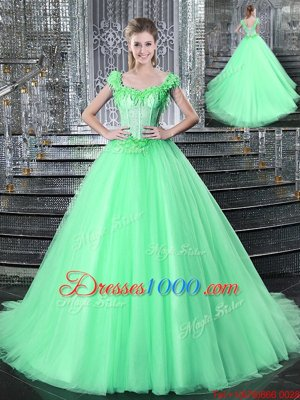 Apple Green Ball Gowns Straps Sleeveless Tulle With Brush Train Lace Up Beading and Appliques Ball Gown Prom Dress