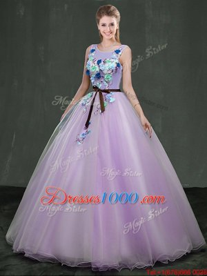 High End Ball Gowns 15th Birthday Dress Lavender Scoop Organza Sleeveless Floor Length Lace Up
