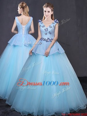 Cute Floor Length Ball Gowns Sleeveless Light Blue Vestidos de Quinceanera Lace Up