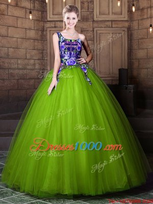 Fine One Shoulder Pattern 15th Birthday Dress Olive Green Lace Up Sleeveless Floor Length