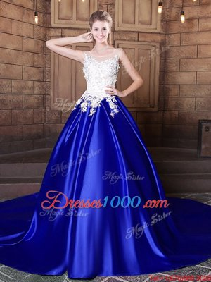Stylish Scoop Royal Blue Sleeveless Court Train Appliques With Train Ball Gown Prom Dress