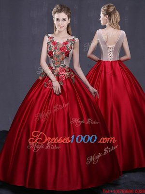 Fabulous Ball Gowns Quinceanera Gowns Wine Red Scoop Satin Sleeveless Floor Length Lace Up