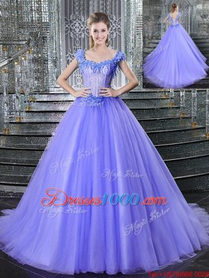 Tulle Straps Sleeveless Brush Train Lace Up Beading Sweet 16 Dresses in Lavender