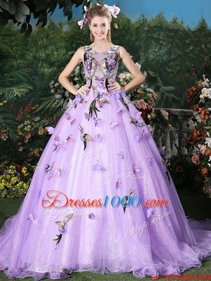 Shining Scoop Lavender Sleeveless Appliques Lace Up Ball Gown Prom Dress