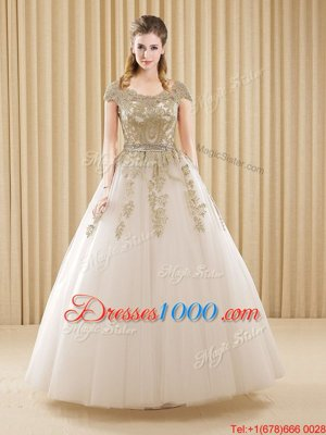 Scoop White Short Sleeves Floor Length Beading and Appliques Lace Up Quince Ball Gowns