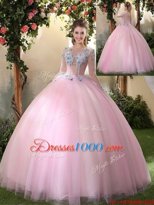 Shining Baby Pink Ball Gowns Tulle Scoop Long Sleeves Appliques Floor Length Lace Up Quinceanera Gown