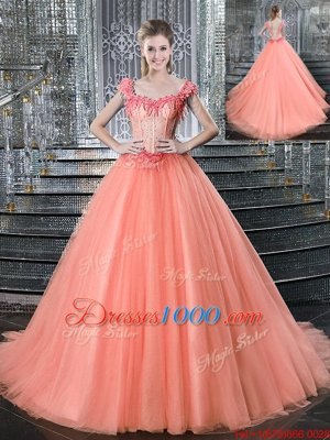 Extravagant Straps Straps Beading Quince Ball Gowns Peach Lace Up Sleeveless With Brush Train