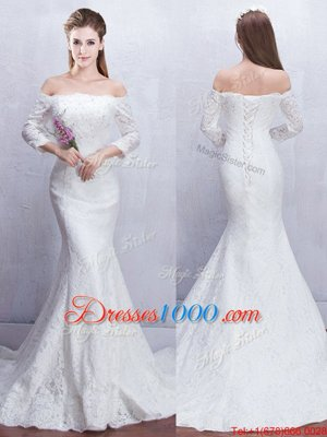 Great Mermaid Off the Shoulder With Train White Wedding Gown Lace Brush Train 3|4 Length Sleeve Lace
