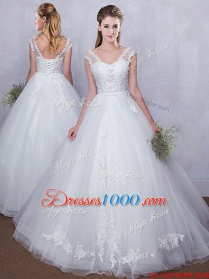 Straps Straps Sleeveless Lace Up Floor Length Lace and Appliques Wedding Gown