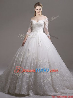 Inexpensive White Ball Gowns Tulle Off The Shoulder Half Sleeves Lace and Appliques Zipper Wedding Dress Cathedral Train