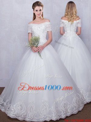 White Ball Gowns Tulle Off The Shoulder Short Sleeves Lace Floor Length Lace Up Wedding Gowns