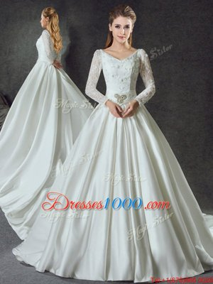 Suitable White Wedding Dress Wedding Party and For with Lace and Belt V-neck Long Sleeves Chapel Train Lace Up