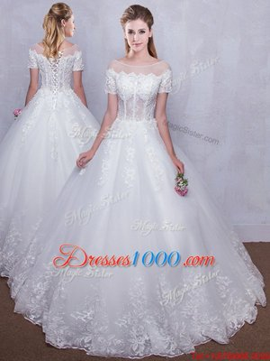Graceful See Through Ball Gowns Wedding Gowns White Scoop Tulle Short Sleeves Floor Length Lace Up