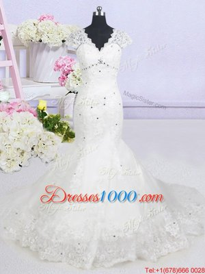 With Train Mermaid Cap Sleeves White Wedding Gown Brush Train Lace Up