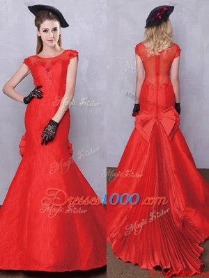 Attractive Pleated Brush Train Mermaid Bridal Gown Red Scoop Taffeta and Lace Short Sleeves Zipper