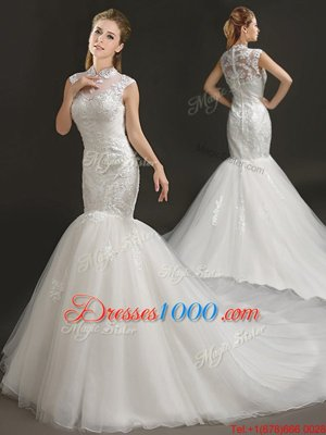 Mermaid White Tulle Zipper High-neck Sleeveless With Train Wedding Gown Court Train Lace and Appliques