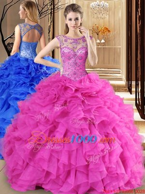 New Style Floor Length Apple Green 15 Quinceanera Dress Organza Sleeveless Beading and Ruffles and Pick Ups