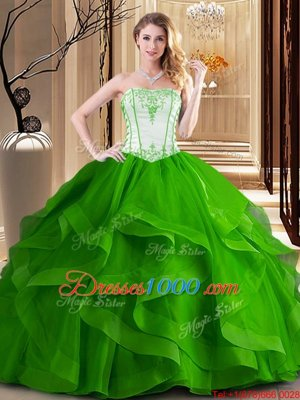 Modest Green and Fuchsia Tulle Lace Up Strapless Sleeveless Floor Length Quinceanera Gowns Embroidery