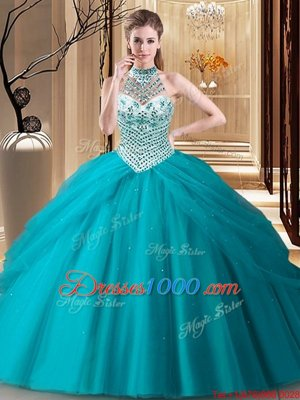 Teal Lace Up Halter Top Beading and Pick Ups Sweet 16 Quinceanera Dress Tulle Sleeveless Brush Train