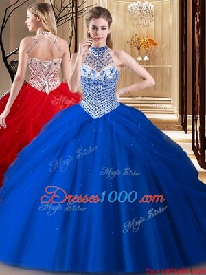 High Quality Halter Top Beading and Pick Ups 15 Quinceanera Dress Royal Blue Lace Up Sleeveless With Brush Train