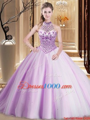 Sophisticated Lilac Ball Gowns Halter Top Sleeveless Tulle Asymmetrical Brush Train Lace Up Beading Sweet 16 Dress