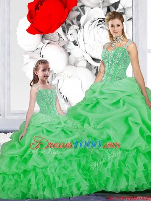 Pretty Green Straps Neckline Beading and Ruffles and Pick Ups Sweet 16 Quinceanera Dress Sleeveless Lace Up