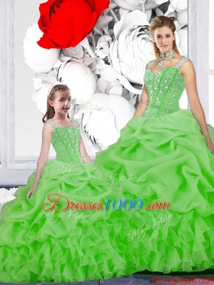 Enchanting Lace Up Straps Beading and Ruffles and Pick Ups Sweet 16 Dresses Organza Sleeveless