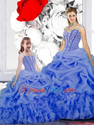 High Quality Pick Ups Straps Sleeveless Lace Up 15th Birthday Dress Blue Organza