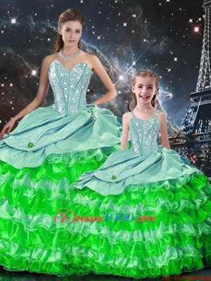 Pretty Beading and Ruffles 15th Birthday Dress Multi-color Lace Up Sleeveless Floor Length