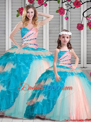 Ball Gowns Vestidos de Quinceanera Multi-color Sweetheart Organza Sleeveless Floor Length Lace Up