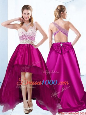 High Low Criss Cross Custom Made Pageant Dress Fuchsia and In for Prom and Party with Beading