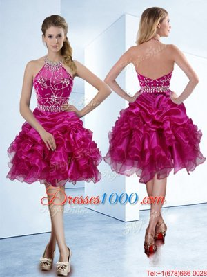 Fantastic Halter Top Fuchsia Zipper Pageant Dresses Beading and Ruffles and Pick Ups Sleeveless Knee Length