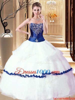 Designer Floor Length Lace Up Sweet 16 Dress White and Royal Blue and In for Military Ball and Sweet 16 and Quinceanera with Beading and Ruffled Layers